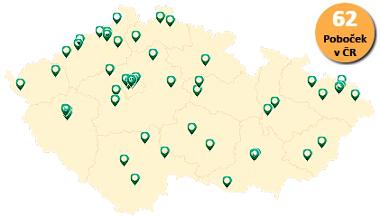 Mapa výživových poraden NATURHOUSE v ČR.